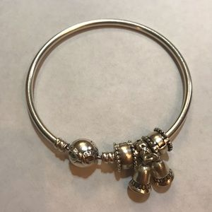 Pandora silver bangle w charm and two dividers